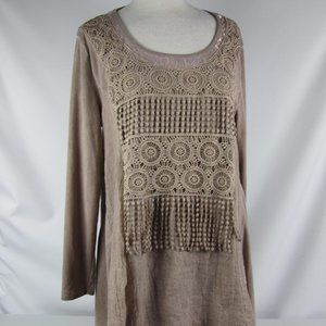 Pretty Angel Tan Linen Blend Top Tunic Layered XL